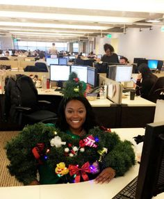 Moore told BuzzFeed News this was her first year at a new company so when she heard about the firm's festive 'ugly sweater' contest, she wanted to go all out to impress her co-workers and, of course, win. She did a pretty stellar job.