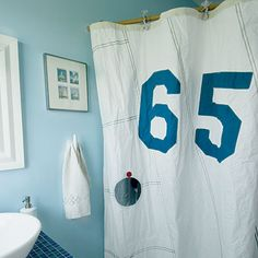 Recycled sailcloth shower curtain.