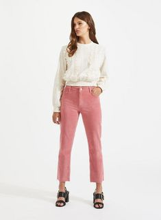 0aecde53ee26 Cropped Straight Leg Pink Cord Trouser Cord Trousers