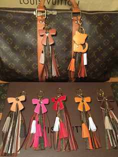 I love you Custom Hand Made Cow Leather Tassels- Upcycled LV Monogram ADORABLE!! - The Luxe Boutique