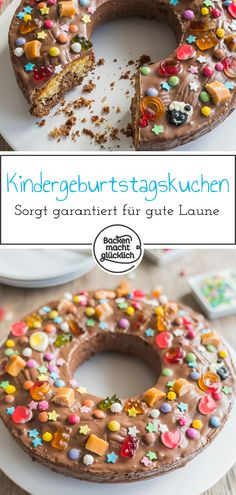 Einfacher Kindergeburtstagskuchen This birthday cake is colorful, sweet and sugar and a real eye-catcher. The simple birthday cake is a juicy marble cake, which with a lot of colorful sprinkles Marble Cake, Coconut Macaroons, Baking With Kids, Yellow Cake Mixes, First Birthday Cakes, Birthday Parties, No Bake Cake, Kids Meals, Oreo