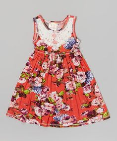 Look what I found on #zulily! Pink Vanilla Coral Floral Rosette Dress - Toddler & Girls by Pink Vanilla #zulilyfinds