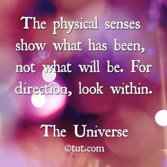 """""""The physical senses show what has been, not what will be. For direction, look within."""""""