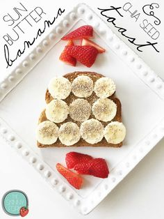 Sun Butter, Banana and Chia Seed Toast - bread, dessert, healthy