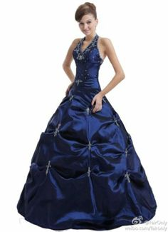 Navy Blue Halter Appliqued Formal Evening Bridesmaid Dress Prom Homecoming Gown