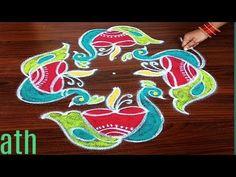Easy daily peacock rangoli with 7 dots made easy to draw everyone on door Simple Rangoli Designs Images, Rangoli Designs Flower, Rangoli Designs With Dots, Flower Rangoli, Rangoli With Dots, Beautiful Rangoli Designs, Kolam Designs, Lotus Rangoli, Peacock Rangoli