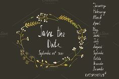 Rustic Wreath Save the Date Card by Popmarleo Shop on Creative Market