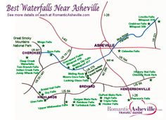 Waterfall Drives & Maps for Asheville & NC Mountains Western North Carolina Waterfall Map Asheville North Carolina, Western North Carolina, North Carolina Mountains, North Carolina Homes, Maggie Valley North Carolina, Highlands North Carolina, Asheville Waterfalls, Nc Waterfalls, North Carolina Waterfalls