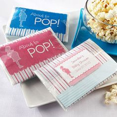 """Perfect take away gift, since her and mike love popcorn ! """"About To Pop"""" Microwave Popcorn Favors, Baby Shower Favors, Edible Baby Shower Favors Baby Shower Favors, Shower Party, Baby Shower Parties, Baby Shower Invitations, Baby Shower Gifts, Baby Gifts, Invites, Baby Party, Diaper Shower"""