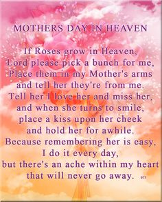 Happy Mother's Day mom (Judy) ❤️. I miss you and think about you everyday!  What a marvelous day it will be when we are reunited again!  I LOVE YOU MOM