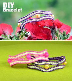 Macramé Wavy Eye Bracelet / Triple eye & Pearls in waves tutorial #Macrame #Bracelet #Tutorial