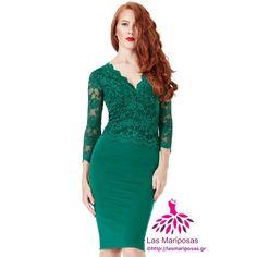04e8595772e4 Kate Midi πράσινο emerald δαντελένιο φόρεμα Lace Dresses