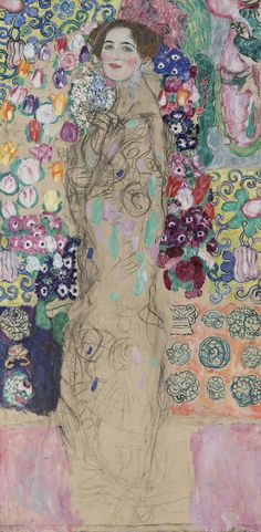 """Gustav Klimt, """"Portrait of Ria Munk III"""" (1917, unfinished), oil and charcoal on canvas, The Lewis Collection (all images courtesy Neue Galerie, New York)"""