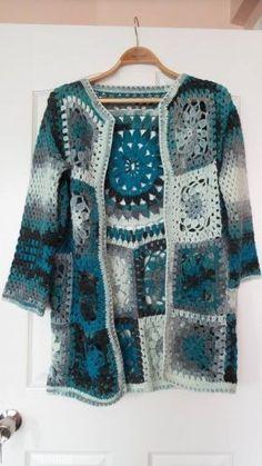 trendy ideas for crochet granny square shrug colour Crochet Diy, Crochet Coat, Crochet Jacket, Crochet Cardigan, Love Crochet, Beautiful Crochet, Crochet Shawl, Crochet Clothes, Crochet Squares