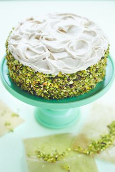 Put a twist on a classic with this dessert recipe for Pistachio Carrot Cake with Brown Sugar Cream Cheese Frosting. The nutty flavor pairs beautifully with a bold Nespresso Grand Cru. Pistachio Recipes, Pistachio Cake, Pistachio Cream, Baking Recipes, Dessert Recipes, Cheesecake Recipes, Brown Sugar Frosting, Salty Cake, Almond Cakes