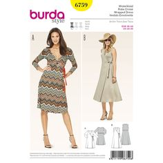 These wrapped dresses made of jersey guarantee wearing ease, whether in the office, in the city or on vacation. The design offers every woman a perfect solution, with classic v-neck or flattering banded neck. A Burda Style sewing pattern.