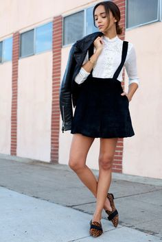 * cute black skirt with a white blouse and leopard print flats *