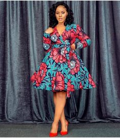 Chic Ankara dress styles can be worn to different occasion and you won't feel out of place. In fact chic Ankara dress styles coordinated with complementing accessories have a way of enhancing your overall look. Short African Dresses, Ankara Short Gown Styles, Short Gowns, African Print Dresses, African Prints, Ankara Styles For Women, African Fabric, Ankara Gowns, African Fashion Ankara