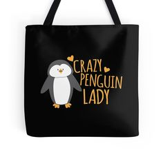 Crazy Penguin Lady cute tote bag on RedBubble by jazzydevil