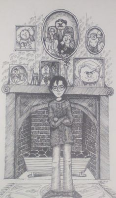 Harry at the Dursely House drawing by JK Rowling