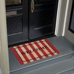CUSTOMISABLE WELCOME Original red striped USA flag Doormat  $58.39  by FlagManStore  - custom gift idea