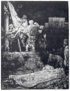 REMBRANDT van Rijn / Descent from the Cross by Torchlight (Bartsch / 1654 / etching-mezzotint with drypoint Rembrandt Etchings, Rembrandt Drawings, Rembrandt Art, Rembrandt Paintings, Leiden, Harvard Art Museum, Dutch Golden Age, Dutch Painters, Charcoal Drawings