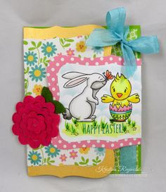 handmade Easter card from The Rubber Cafe Design Team Blog... joy fold format using bright patterned papers and labels dies ... tutorial on the blog ... luv it!