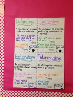 Types of Sentences Life in Fifth Grade: Teacher Week: Meet my Classroom! Teaching 5th Grade, 6th Grade Ela, 5th Grade Classroom, Teaching Writing, Student Teaching, Third Grade, Teaching Ideas, Fourth Grade, Classroom Ideas