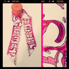 Hermes 'Alphabet Trois' pink/white colorway silk twilly; RR Price: 150.00  http://resaleriches.mybisi.com/product/hermestwilly