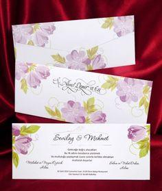 Invitatie de nunta cu flori lila