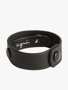 bracelet pression noir en cuir | agnès b. Sparkle, Belt, Accessories, Leather, Belts, Jewelry Accessories