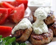 Greek Turkey Meatballs-AKA Keftedes are served with a yogurt/cucumber sauce called Tzatiki Sauce.