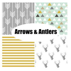 Arrows, triangles, stripes, skip the deer? Custom Crib Bedding-3 piece-Arrows and Antlers by fingersandtoes