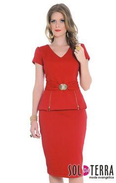 Conjuntos - Moda Evangelica | atacado - revenda Red Fashion, African Fashion, Fashion Dresses, Blouse And Skirt, Peplum Dress, Plus Size Dresses, Short Dresses, Classy Suits, Work Dresses For Women