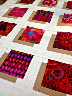 Shadow Blocks Mini quilt, featuring Kaffe Fassett fabrics, by Studio Dragonfly. The idea was to make each print appear to have a shadow or to be floating on the background.