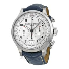 Baume and Mercier Capeland Silver Dial Chronograph Blue Leather Mens Watch 10063