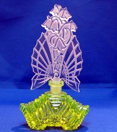 Czech Crystal AND Vaseline Glass Perfume Bottle | eBay