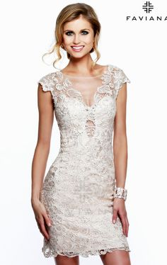 """Feel the charm in you in Faviana 7622. Can i wear this to my cousin's wedding? """"Cream"""" AND lace?? it is so pretty..."""