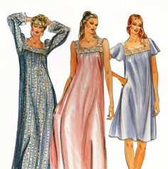 1980s Misses Modest Nightgown Nightdress Lacy Square Neck in Floor or Knee Length. Sleeveless, or with Short or Long Sleeves by TheOldLeaf, $4.99 #TheOldLeaf