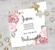 Pink Floral Bridesmaid Proposal Puzzle Dusty Pink Floral Bridesmaid Proposal Puzzle Love Bloom Eggplant Purple Floral Silver Frame Save The Date Spring Floral Save The Date Calendar Blush Pumpkin Floral Baby Shower Book Request Enclosure Card Rustic We. Wedding Roles, Wedding Proposals, Wedding Cards, Wedding Gifts, Wedding Ideas, Cute Bridesmaids Gifts, Asking Bridesmaids, Will You Be My Bridesmaid, Maid Of Honour Gifts