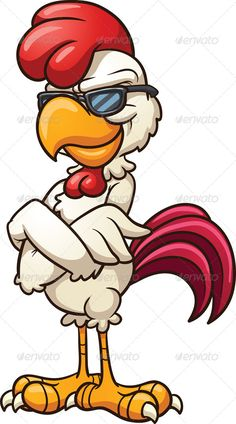 Cool Chicken by memoangeles Cartoon chicken wearing cool sunglasses. Vector clip art illustration with simple gradients. All in a single layer. Cartoon Kunst, Cartoon Cartoon, Cartoon Drawings, Cartoon Characters, Art Drawings, Cartoon Crazy, Art And Illustration, Chicken Illustration, Free Illustrations