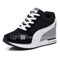 reputable site 8d7ce ea444 Women s Sneakers Spring   Fall Comfort Tulle Athletic   Casual Wedge Heel  Split Joint  Black