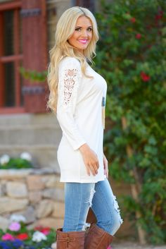 10% OFF with code REPLAUREN at checkout + free, fast US shipping || Crochet My Way Tunic - Ivory from Closet Candy Boutique