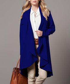 Another great find on #zulily! Saxon Blue Wool-Blend Drape Coat #zulilyfinds
