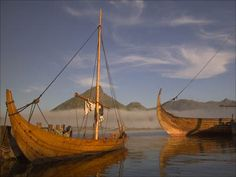 """Lofotr"" a full size reconstruction of the ""Gokstad"" Viking ship and a smaller 8 oared boat. Vikings, Viking Longship, Roman, Viking Reenactment, Germanic Tribes, Viking Life, Viking Ship, Arm Armor, History Channel"