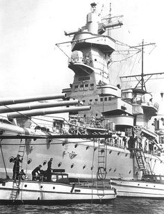 Detail view of the massive forward superstructure of the German pocket…