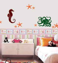 Kids bathroom Sea Life Vinyl Wall Art Decals by 7decals on Etsy, $24.99