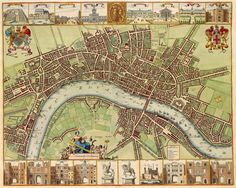 London Street Map Old London City Atlas Vintage Century Map Bar Den Wall Art Print Slightly aged finish, retaining the aged character of the original. One of a large collection of remastered vintage art posters I have for sale. Old Maps Of London, Street Map Of London, London Map, Old London, London City, London Tours, Vintage London, Maria Stuart, Map Vintage