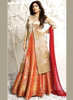 Shilpa Shetty Beige and Orange Raw Silk Long Choli Lehenga