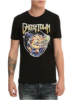 b2a0128c8 Black T-shirt from Ghost Town with cat wizard design. Emo Fashion, Womens